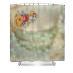 Textured Tea Cup Shower Curtain by Barbara S Nickerson