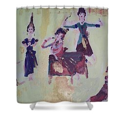 Shower Curtain featuring the painting Thai Dance by Judith Desrosiers