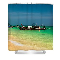 Thai Longboats Shower Curtain by Adrian Evans