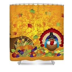 Thanksgiving Day Feast Cornucopia Turkey Pilgrim With Background Shower Curtain