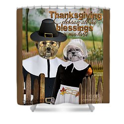 Shower Curtain featuring the digital art Thanksgiving From The Dogs-2 by Kathy Tarochione