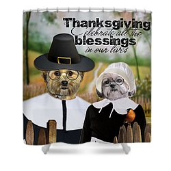 Shower Curtain featuring the digital art Thanksgiving From The Dogs by Kathy Tarochione