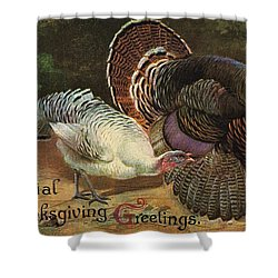 Thanksgiving Greetings Shower Curtain by American School