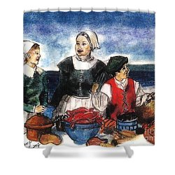 Thanksgiving Supper Shower Curtain by Francine Heykoop