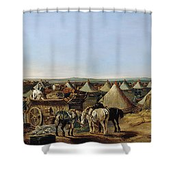 The 10th Regiment Of Dragoons Arriving Shower Curtain by A.E. Eglington