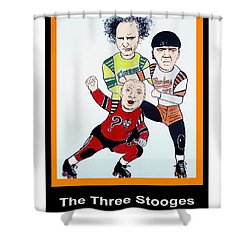 The 3 Stooges Playing Roller Derby Shower Curtain by Jim Fitzpatrick