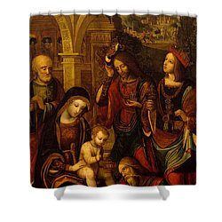 The Adoration Of The Kings Shower Curtain by Neapolitan School