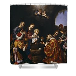 The Adoration Of The Magi Shower Curtain by Carlo Dolci