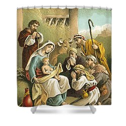 The Adoration Of The Shepherds Shower Curtain by English School