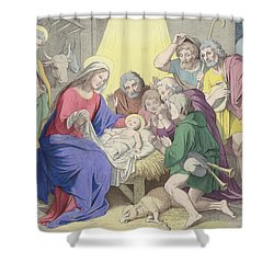 The Adoration Of The Shepherds Shower Curtain by German School