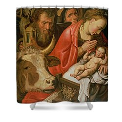 The Adoration Of The Shepherds Shower Curtain by Pieter Aertsen