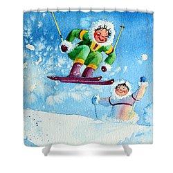 The Aerial Skier - 10 Shower Curtain by Hanne Lore Koehler