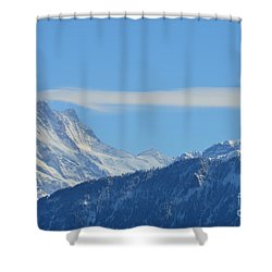 The Alps In Azure Shower Curtain by Felicia Tica