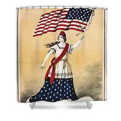 The American Flag A New National Lyric Shower Curtain by Aged Pixel