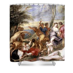 The Andrians A Free Copy After Titian Shower Curtain by Peter Paul Rubens