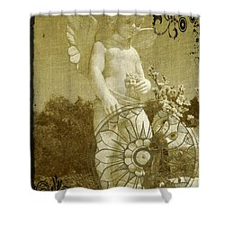 Shower Curtain featuring the digital art The Angel - Art Nouveau by Absinthe Art By Michelle LeAnn Scott
