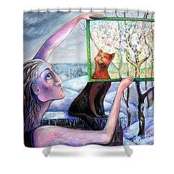 The Angel Of February Shower Curtain by Elisheva Nesis
