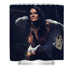 The Angel Prayed Shower Curtain by Laurie Search