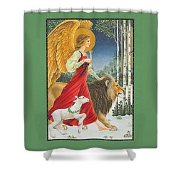 The Angel The Lion And The Lamb Shower Curtain