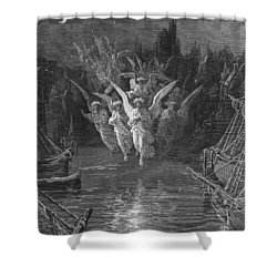 The Angelic Spirits Leave The Dead Bodies And Appear In Their Own Forms Of Light Shower Curtain by Gustave Dore