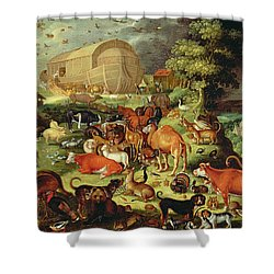 The Animals Entering The Ark Shower Curtain by Jacob II Savery