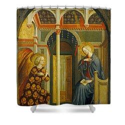 The Annunciation Shower Curtain by Tommaso Masolino da Panicale