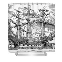 The Ark Raleigh The Flagship Of The English Fleet From Leisure Hour Shower Curtain by English School