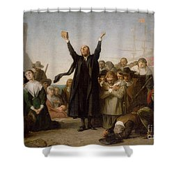 The Arrival Of The Pilgrim Fathers Shower Curtain by Antonio Gisbert