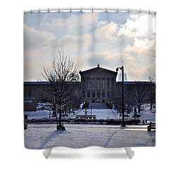 The Art Museum In The Snow Shower Curtain by Bill Cannon
