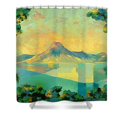 The Art Of Long Distance Breathing Shower Curtain by Andrew Hewkin
