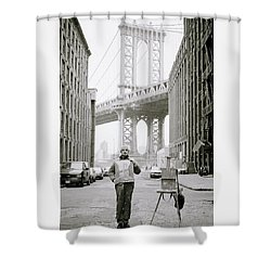 The Artist In New York Shower Curtain by Shaun Higson