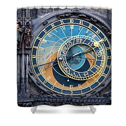 The Astronomical Clock In Prague Shower Curtain by Michal Bednarek