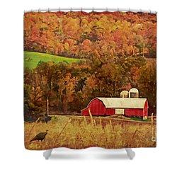 Shower Curtain featuring the digital art The Autumn Barn by Lianne Schneider