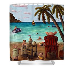 The Bacon Shortage Brighter Shower Curtain by Leah Saulnier The Painting Maniac