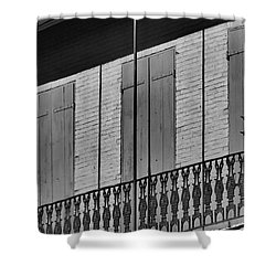 Shower Curtain featuring the photograph The Balcony In The Quarter by Nadalyn Larsen