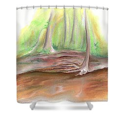 Shower Curtain featuring the pastel The Bank Of Blackwater Creek by MM Anderson