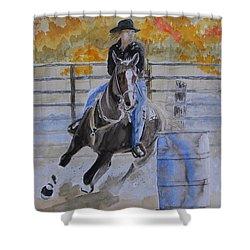 The Barrel Race Shower Curtain by Warren Thompson