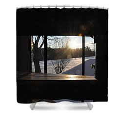Shower Curtain featuring the photograph The Basement Window by John Black