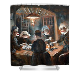 Shower Curtain featuring the painting Tater Eatin by Randol Burns