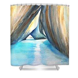 The Baths Azul Shower Curtain