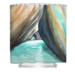 The Baths Turquoise Shower Curtain