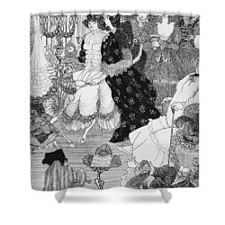 The Battle Of The Beaux And The Belles Shower Curtain by Aubrey Beardsley