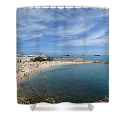Shower Curtain featuring the photograph The Beach At Cap D' Antibes by Allen Sheffield