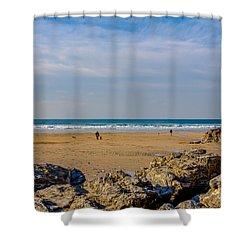 The Beach At Porthtowan Cornwall Shower Curtain by Brian Roscorla