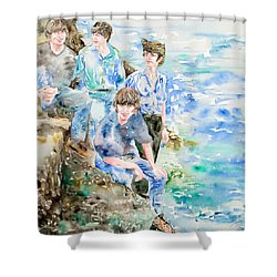 The Beatles At The Sea - Watercolor Portrait Shower Curtain by Fabrizio Cassetta