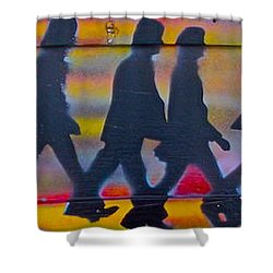 The Beatles Long Wood Shower Curtain by Tony B Conscious