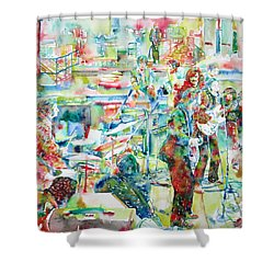 The Beatles Rooftop Concert - Watercolor Painting Shower Curtain
