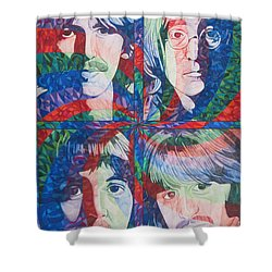 The Beatles Squared Shower Curtain by Joshua Morton