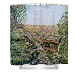 Shower Curtain featuring the painting The Beauty Of A Marsh by Felicia Tica
