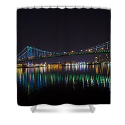 The Ben Franklin Bridge At Night Shower Curtain by Bill Cannon